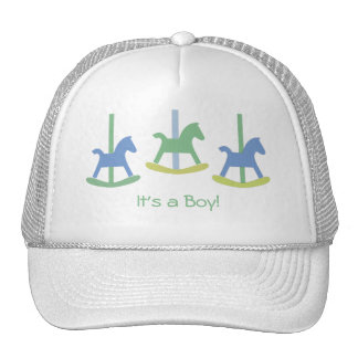 Baby Boy Blue, Yellow & Green Rocking Horse Cap Trucker Hat