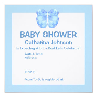 Baby Boy Booties Baby Shower Invitation
