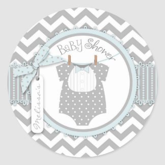 Baby Boy Bow Tie Chevron Print Baby Shower Round Sticker