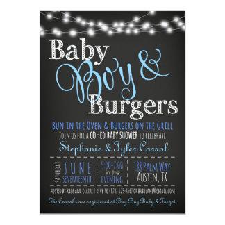 Baby Boy Burgers BBQ Shower Invitation Book Card