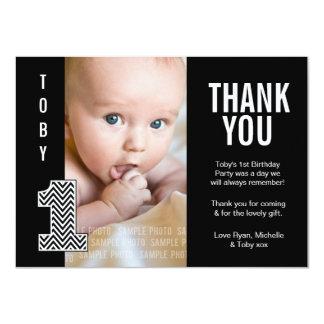 Baby Boy Chevron 1st Birthday Thank You Photo Card 11 Cm X 16 Cm Invitation Card