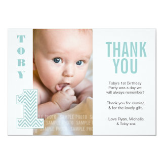 Baby Boy Chevron 1st Birthday Thank You Photo Card Personalized Announcements