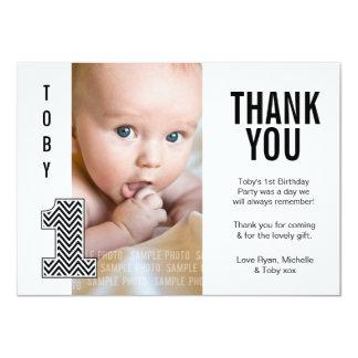 Baby Boy Chevron 1st Birthday Thank You Photo Card Custom Invitations