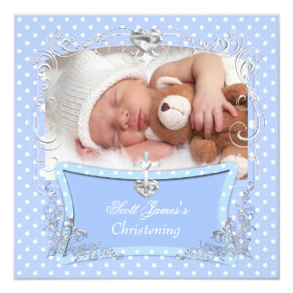 Baby Boy Christening Baptism Blue Polka Dot 2 Card