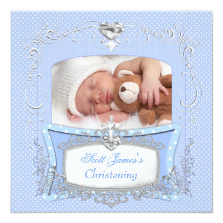 Baby Boy Christening Baptism Blue Polka Dot Card