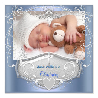 Baby Boy Christening Baptism Blue Silver Cross 5.25x5.25 Square Paper Invitation Card