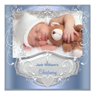 "Baby Boy Christening Baptism Blue Silver Cross 5.25"" Square Invitation Card"