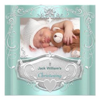 Baby Boy Christening Baptism Mint Silver Cross Invitation