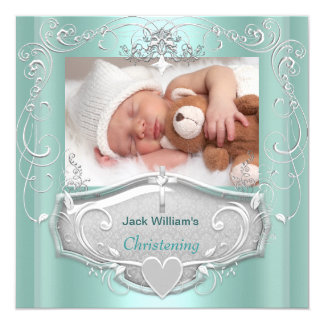 "Baby Boy Christening Baptism Mint Silver Cross 5.25"" Square Invitation Card"