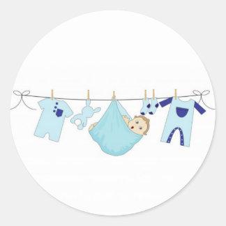 Baby Boy Clothes Line Round Sticker