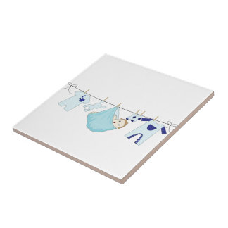 Baby Boy Clothes Line Small Square Tile