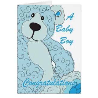 Baby Boy Congratulations Teddy Bear in blue Greeting Card