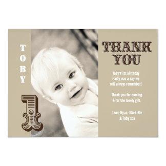 Baby Boy Cowboy 1st Birthday Thank You Photo Card Personalized Invitation