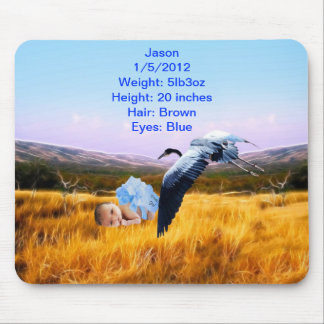 Baby boy details for forgetful parent mouse pad