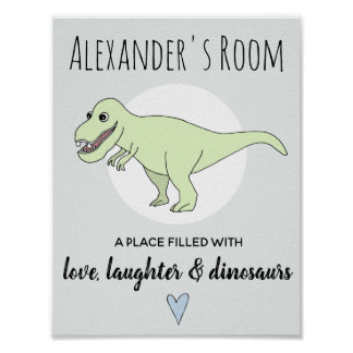 Baby Boy Doodle Dinosaur T-Rex with Name Nursery Poster