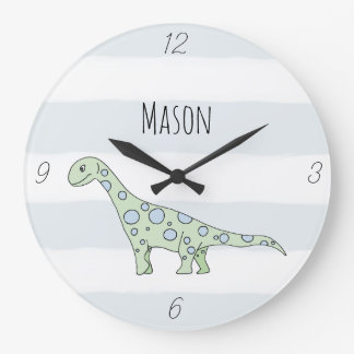 Baby Boy Doodle Dinosaur with Name Nursery Large Clock