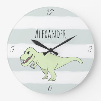 Baby Boy Doodle T-Rex Dinosaur with Name Nursery Large Clock