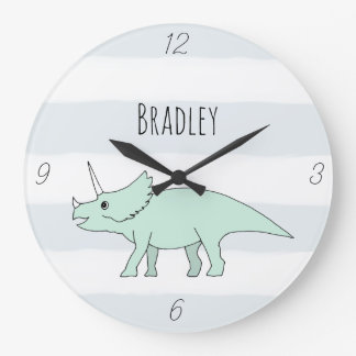 Baby Boy Doodle Triceratops Dinosaur Name Nursery Large Clock