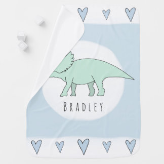 Baby Boy Doodle Triceratops Dinosaur with Name Baby Blanket