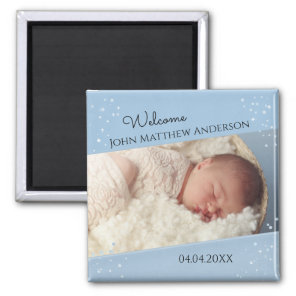 Baby Boy Dusty Blue Sparkling Photo Magnet