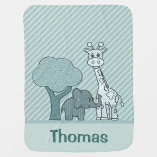 Baby Boy Elephant and Giraffe Receiving Blanket
