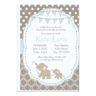 Baby Boy Elephant - Baby Shower Invitation
