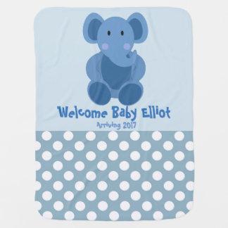 Baby Boy Elephant Blanket Receiving Blanket