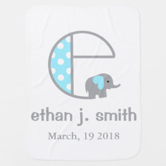 Baby Boy Elephant Blue Polka Dot Blanket Initial C Receiving Blankets