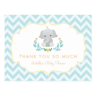 Baby Boy Elephant   Cute Baby Shower Thank You Postcard