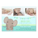 Baby Boy Elephant Photo Birth Announcement 13 Cm X 18 Cm Invitation Card