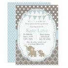 Baby Boy Elephant Shower Invitation - Blue