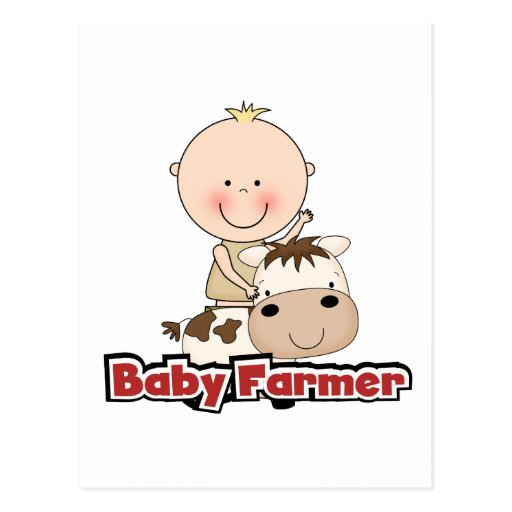 Baby Boy Farmer With Cow Tshirts and Gifts Post Cards