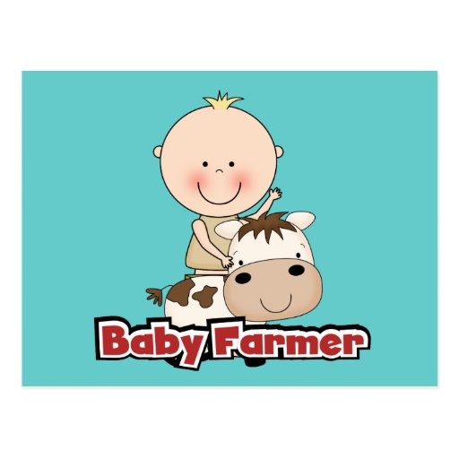 Baby Boy Farmer With Cow Tshirts and Gifts Postcards