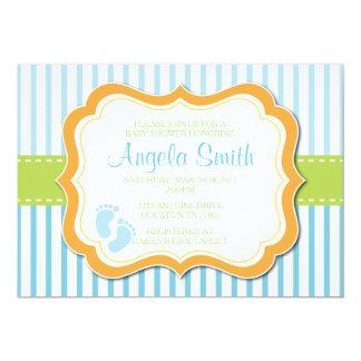 Baby Boy Feet Shower Invitation-Blue 13 Cm X 18 Cm Invitation Card