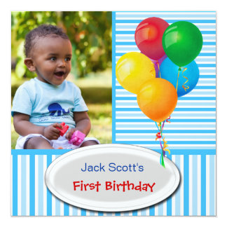 Baby Boy First Birthday 1st Colorful Custom Invitations