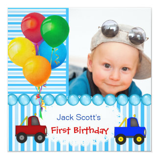 Baby Boy First Birthday 1st Colorful 5.25x5.25 Square Paper Invitation Card