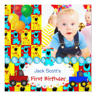 Baby Boy First Birthday 1st Colorful Puppy dogs 5.25x5.25 Square Paper Invitation Card
