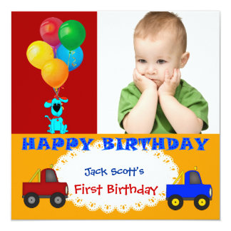 Baby Boy First Birthday 1st Colorful Puppy Trucks 5.25x5.25 Square Paper Invitation Card