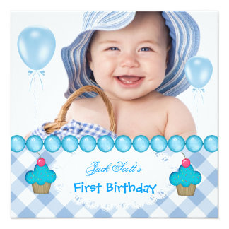 Baby Boy First Birthday 1st Cupcakes Blue 5.25x5.25 Square Paper Invitation Card