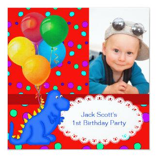 Baby Boy First Birthday 1st Dinosaur 13 Cm X 13 Cm Square Invitation Card
