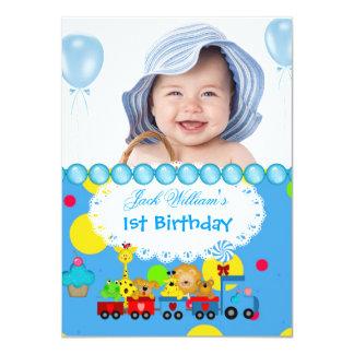 Baby Boy First Birthday 1st Train Blue 11 Cm X 16 Cm Invitation Card
