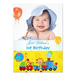 Baby Boy First Birthday 1st Train Blue Yellow Card