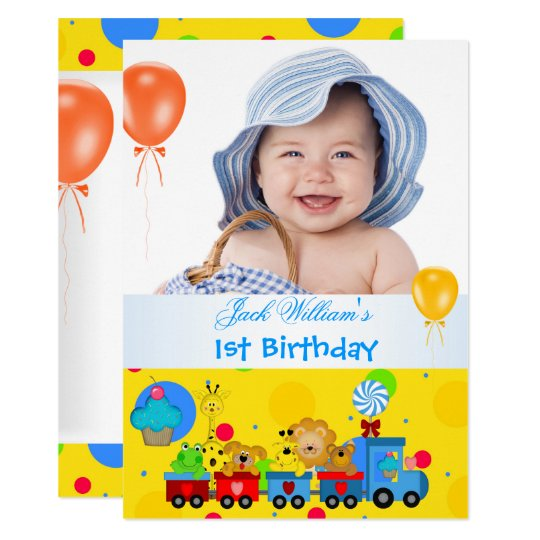 Baby Boy First Birthday 1st Train Blue Yellow Invitation