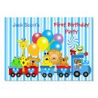 Baby Boy First Birthday 1st Train Photo Animals Card