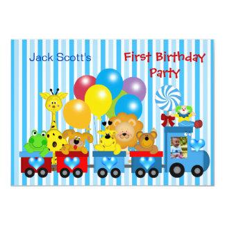 Baby Boy First Birthday 1st Train Photo Animals Custom Announcements