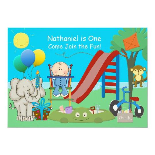 Baby Boy First Birthday Backyard Playground Card