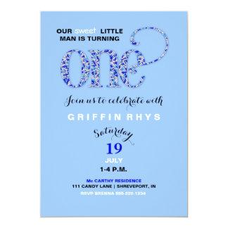 Baby Boy First Birthday Blue Sprinkles 13 Cm X 18 Cm Invitation Card