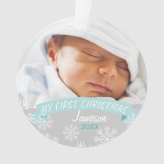 Baby Boy First Christmas | Photo Ornament