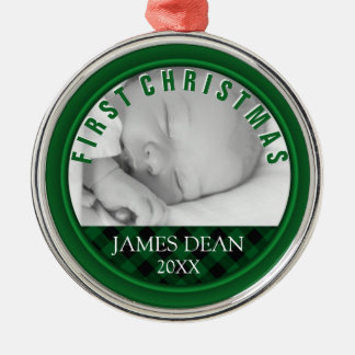 Baby Boy First Christmas Photo Ornament Plaid