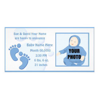 Baby Boy Footprint Feet Birth Photo Announcement Photo Greeting Card